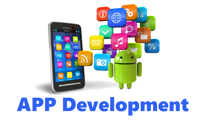 télphone mobile avec emoji réseaux sociaux en couleur avec un titre apps developement